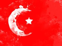Flag of Turkey by watercolor paint brush, grunge style Royalty Free Stock Photography