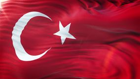 Flag of Turkey waving on sun. Seamless loop with highly detailed fabric texture. Angled view of a realistic 4K flag of the Turkey waving on sun. Seamless loop stock footage