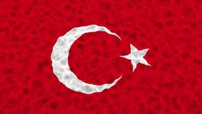Flag of Turkey waving on water abstract composition. 15 second loop 4k 25 fps video stock footage