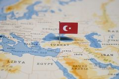 The Flag of turkey in the world map.  royalty free stock photography