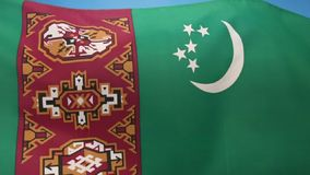 Flag of Turkmenistan - Central Asia stock video