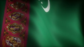 Flag of Turkmenistan. (Computer generated seamless movie stock video footage