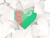 Flag of turkmenistan, heart shaped stickers Royalty Free Stock Image