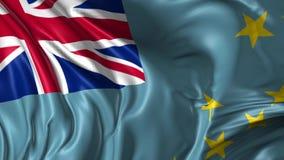 Flag of Tuvalu. Beautiful   3d animation of Tuvalu flag in loop mode stock footage