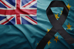 Flag of Tuvalu with black mourning ribbon Royalty Free Stock Images