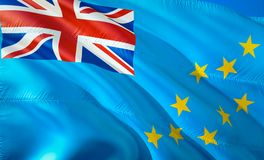 Flag of Tuvalu. 3D Waving flag design. The national symbol of Tuvalu, 3D rendering. National colors of Tuvalu 3D Waving sign. Background design. 3D ribbon stock photo