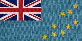 Flag of Tuvalu on old linen Royalty Free Stock Photography