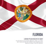 Flag of U.S. state Florida waving on an isolated white backgroun Royalty Free Stock Photography