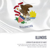 Flag of U.S. state Illinois waving on an isolated white backgrou Stock Images
