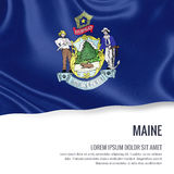 Flag of U.S. state Maine waving on an  white background. State name and the text area for your message Royalty Free Stock Photos