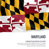 Flag of U.S. state Maryland waving on an isolated white backgrou Royalty Free Stock Photography