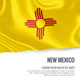 Flag of U.S. state New Mexico waving on an isolated white backgr Stock Photos
