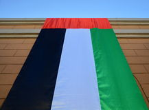 Flag - UAE. The flag of the United Arab Emirates on a brick wall stock photography