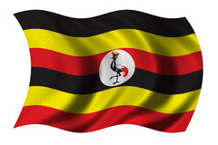 Flag of Uganda. Waving in the wind - clipping path included Royalty Free Stock Images