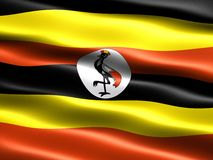 Flag of Uganda. Computer generated illustration with silky appearance and waves Royalty Free Stock Images