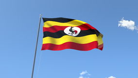 Flag of Uganda stock video footage