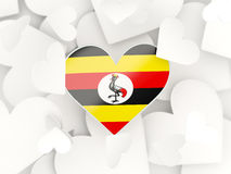 Flag of uganda, heart shaped stickers Royalty Free Stock Photography