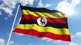 Flag of Uganda (loop) stock video footage