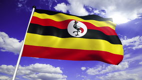 Flag of Uganda (loop) stock video