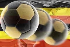 Flag of Uganda wavy soccer Royalty Free Stock Photography