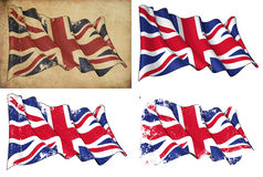 Flag of UK. Waving UK flag. 4 options for multiple uses 1) aged paper, 2) clean cut, 3) scratched surface and 4) under texture Royalty Free Stock Photography
