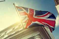 Flag of UK on building. Flag of UK on government building Stock Photography