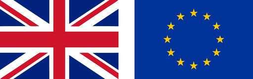 Flag of the UK and EU Royalty Free Stock Photo