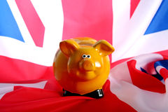 Flag UK with piggy bank Stock Photography