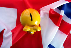 Flag UK with piggy bank Stock Photos