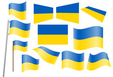 Flag of Ukraine. Set of flags of Ukraine vector illustration Stock Image
