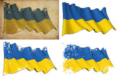 Flag of Ukraine. Waving Ukrainian flag. 4 options for multiple uses 1) aged paper, 2) clean cut, 3) scratched surface and 4) under texture Royalty Free Stock Photos