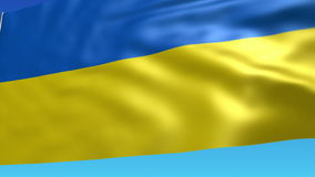 Flag of Ukraine. Waving flag with B/W Matte. 3D animation is looped stock video