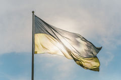 Flag of the Ukraine against the sun. Ukrainian flag waving in the wind Royalty Free Stock Photo