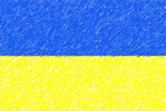 Flag of Ukraine background o texture, color pencil effect. Royalty Free Stock Photos