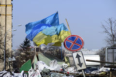 The flag of Ukraine on the barricades of Kiev Royalty Free Stock Photography
