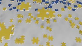 Flag of Ukraine being made with jigsaw puzzle pieces. Ukrainian problem solution conceptual 3D animation. Flag made of puzzle pieces, conceptual 3D stock video