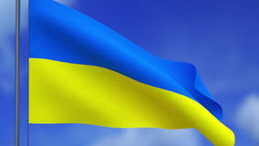 The flag of Ukraine and clouds stock footage
