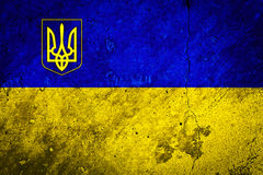 Flag of the Ukraine on Concrete Wall Texture Stock Images