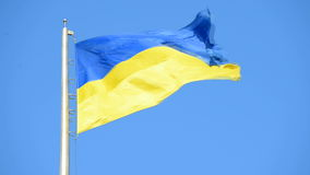 The flag of Ukraine is developing in the wind. City of Kyiv stock video