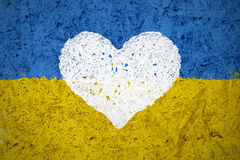 Flag of Ukraine with the heart symbol Stock Photo