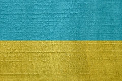 Flag of Ukraine on old dried wood texture Royalty Free Stock Photo