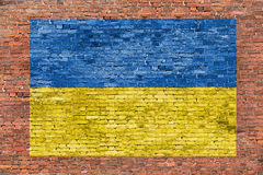 Flag of Ukraine painted over brick wall Royalty Free Stock Image