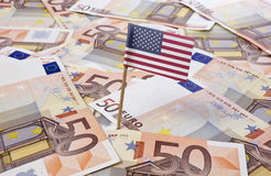 Flag of undefined sticking in 50 Euro banknotes.(series) Stock Photography