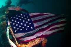 A Flag under the sea Stock Photos