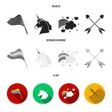 Flag, unicorn symbol, arrows with heart.Gay set collection icons in black, flat, monochrome style vector symbol stock. Illustration Stock Photography