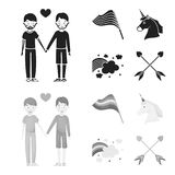Flag, unicorn symbol, arrows with heart.Gay set collection icons in black,monochrom style vector symbol stock. Illustration Royalty Free Stock Image