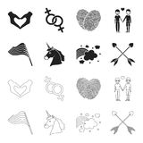Flag, unicorn symbol, arrows with heart.Gay set collection icons in black,outline style vector symbol stock illustration.  Stock Image