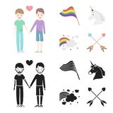 Flag, unicorn symbol, arrows with heart.Gay set collection icons in cartoon,black style vector symbol stock illustration.  Stock Photography