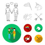 Flag, unicorn symbol, arrows with heart.Gay set collection icons in outline,flat style vector symbol stock illustration.  Stock Photos
