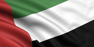 Flag Of United Arab Emirates. 3d rendered flag of united arab emirates stock illustration